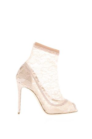TAORMINA APRICOT LACE & SATIN ANKLE BOOTS SS 2018 DOLCE & GABBANA | 52 | CT0392AN2678F217