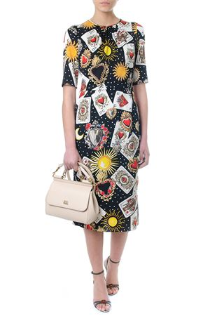DRESS IN PRINTED BLACK & MULTICOLOR SILK CHARMEUSE SS 2018 DOLCE & GABBANA | 32 | F68F8TFSAUOHNM70