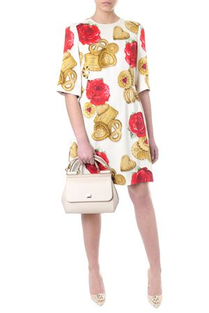 WHITE CADY DRESS WITH BISCUIT & ROSES PRINT SS 2018 DOLCE & GABBANA | 32 | F68I2TFSRJHHKN07