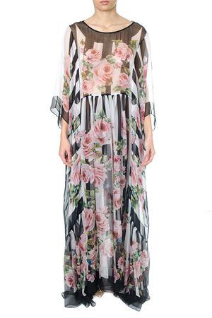 WHITE & BLACK ROSE PRINTED SILK DRESS ss 2018 DOLCE & GABBANA | 32 | F6YC1TGDH44HWI10