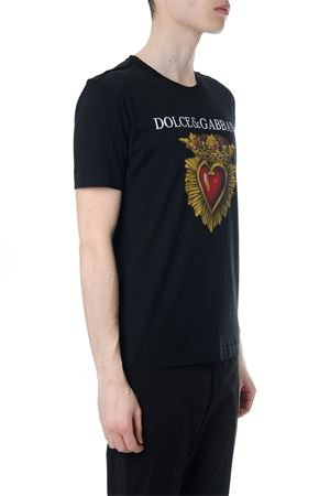 T-SHIRT IN COTONE NERO STAMPA CUORE PE 2018 DOLCE & GABBANA | 15 | G8IG9TFH7OSHNN84