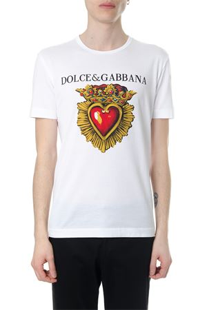 T-SHIRT IN COTONE BIANCO STAMPA CUORE PE 2018 DOLCE & GABBANA | 15 | G8IG9TFH7OSHWN84
