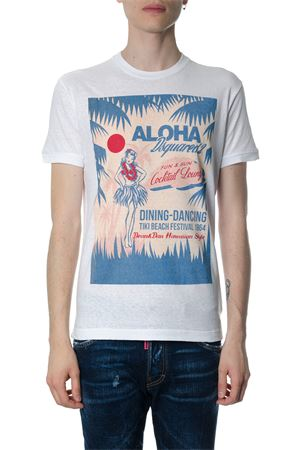 T-SHIRT ALOHA BIANCA IN COTONE PE 2018 DSQUARED2 | 15 | S71GD0643S22507100