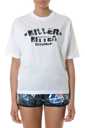 T-SHIRT KILLER KITTEN BIANCA IN COTONE PE 2018 DSQUARED2 | 15 | S72GD0073S22427100