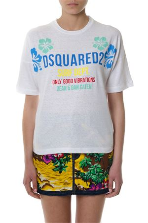 WHITE PRINTED MULTICOLORED LOGO T-SHIRT SS 2018 DSQUARED2 | 15 | S72GD0076S22507100
