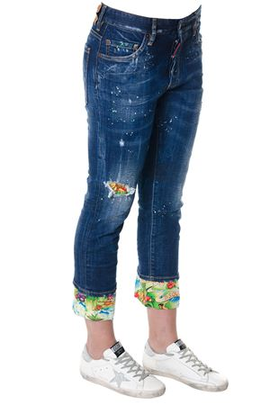 JEANS IN DENIM DI COTONE CON STAMPA HAWAII PE 2018 DSQUARED2 | 4 | S72LB0081S30342965