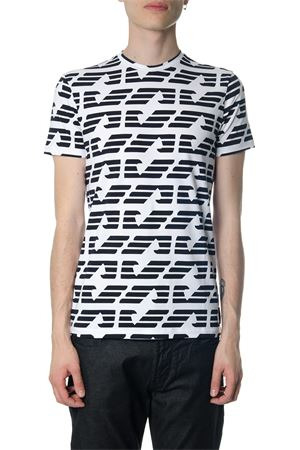 WHITE T-SHIRT WITH CONTRASTING ALL OVER LOGO PRINT SS 2018 EMPORIO ARMANI | 15 | 3Z1T871J12Z0100