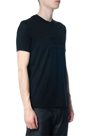 BLACK COTTON T-SHIRT WITH EMBOSSED LOGO ON FRONT SS 2018 EMPORIO ARMANI | 15 | 3Z1TL61JQUZ0999