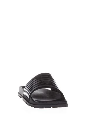 BLACK BRANDED RUBBER SLIPPERS SS 2018 EMPORIO ARMANI | 87 | X4P077XL273A039