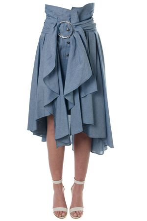 INDIGO COTTON DRAPED SKIRT