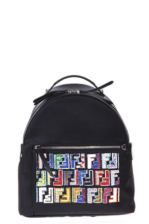 BLACK FABRIC AND LEATHER BACKPACK SS 2018 FENDI | 183 | 8BZ035A14UF0JBX