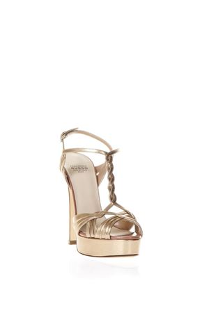 Pink gold metal strappy sandals SS2018 FRANCESCO RUSSO | 87 | R1S384N211PINK GOLD