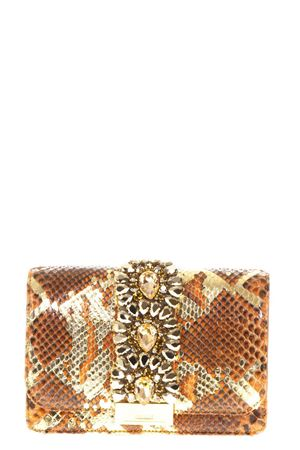 CLIKY EMBELLISHED GOLD & BROWN PYTHON CLUTCH SS 2018 GEDEBE | 2 | CLIKYPYTHONORANGE GOLD