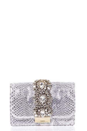 CLUTCH ARGENTO CLIKY IN PITONE PE18 GEDEBE | 2 | CLIKYPYTHONSILVER SHADE