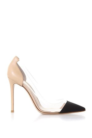 DÉCOLLETÉ SMART IN PELLE NUDE CON PLEXY PE 2018 GIANVITO ROSSI | 68 | G20140DENIMBLACK