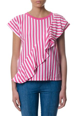 WHITE & FUCHSIA STRIPED FRILLED TOP SS 2018 GOLDEN GOOSE DELUXE BRAND | 16 | G32WP1231A1