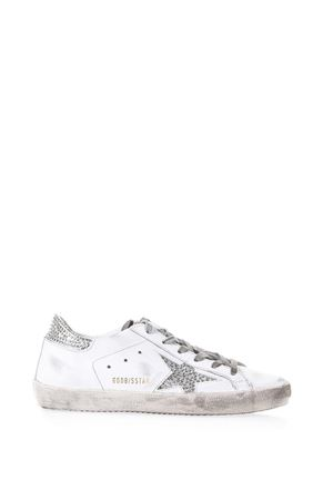 SUPERSTAR WHITE LEATHER SNEAKERS WITH CRYSTALS  SS 2018 GOLDEN GOOSE DELUXE BRAND | 55 | G32WS5901E64