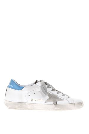 SNEAKERS SUPER STAR IN PELLE BIANCA E BLU 20MM PE 2018 GOLDEN GOOSE DELUXE BRAND | 55 | G32WS5901E84
