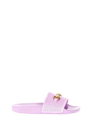 MAUVE PERFORATED LEATHER SLIDES SS 2018 GUCCI | 87 | 498265D6Z505832
