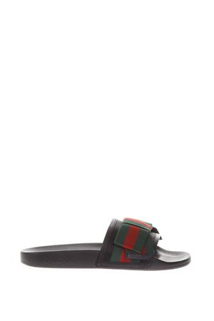 BLACK SATIN SLIDES WITH WEB BOW SS 2018 GUCCI | 87 | 498316KLWI01146