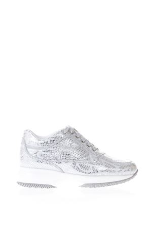 SNEAKERS ARGENTO INTERACTIVE IN PELLE TAMPA RETTILE PE18 HOGAN | 135 | HXW00N00E30I6HB001