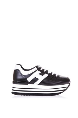 BLACK MAXI H222 SNEAKERS IN LEATHER SS 2018 HOGAN | 55 | HXW2830T548KLA0002