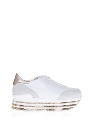 MAXI 222 WHITE AND BRONZE SUEDE SNEAKERS SS 2018 HOGAN | 55 | HXW3490J06117X0989