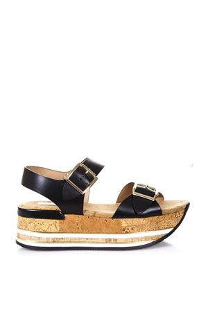 MAXI H222 BLACK CORK AND LEATHER SANDALS SS 2018 HOGAN | 87 | HXW3540AA40KLAB999