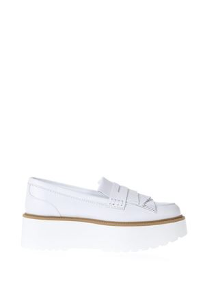 ROUTE H355 FRINGED WHITE LEATHER LOAFERS SS 2018 HOGAN | 130 | HXW3550AF10IWEB001