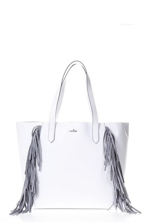 WHITE LEATHER SHOPPING BAG WITH FRINGES DETAILS SS 2018 HOGAN | 2 | KBW00WA5400IZK077Q