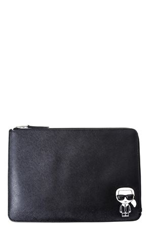 KARLITO PATCH BLACK LEATHER POUCH SS 2018 KARL LAGERFELD | 5 | 18KW3205IPAD POUCH999