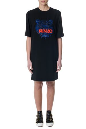 BLACK COTTON DRESS WITH TIGER CREST SS 2018 KENZO | 32 | F852RO0405ACUNI99