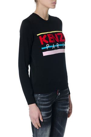 BLACK COTTON SWEATER WITH EMBROIDERED LOGO SS 2018 KENZO | 16 | F852TO490808UNI99
