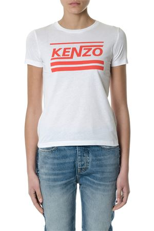 WHITE COTTON T-SHIRT WITH LOGO ss 2018 KENZO | 15 | F852TS739990UNI01
