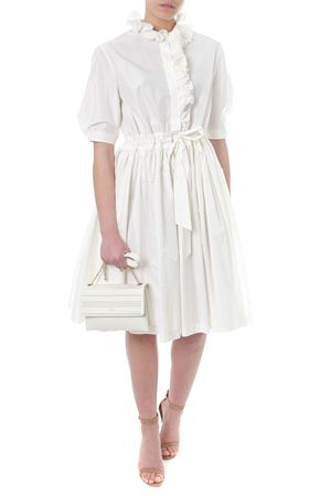 IVORY SILK-COTTON BLEND FLARED DRESS SS 2018 LANVIN | 32 | RW-DR2010U373703