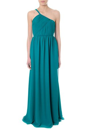 GREEN SILK ONE-SHOULDER LONG DRESS SS 2018 LANVIN | 32 | RW-DR357U33744481