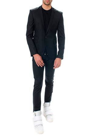 BLACK WOOL BLAZER WITH LACE-UP DETAIL SS 2018 LES HOMMES | 14 | LHE312ALE400ALACES9000