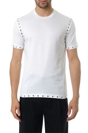 STUDDED WHITE COTTON T-SHIRT SS 2018 LES HOMMES | 15 | LHE806LE800ROUND NECK1000