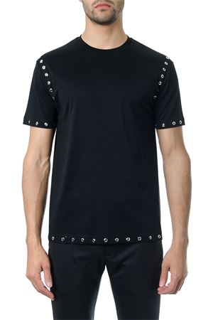 STUDDED BLACK COTTON T-SHIRT SS 2018 LES HOMMES | 15 | LHE806LE800ROUND NECK9000