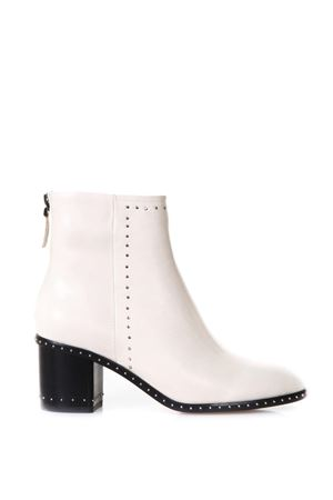 STUDDED IVORY LEATHER ANKLE BOOTS SS 2018 LOLA CRUZ | 52 | 168T15BK-V18MICROREMACHESOFF WHITE