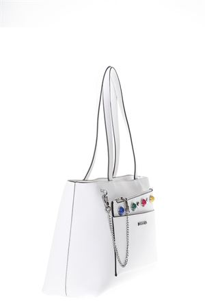 WHITE SHOPPING BAG MULTICOLORED STUDS DETAILS SS 2018 LOVE MOSCHINO | 2 | JC4300PP05KO0100