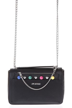 BLACK SHOULDER BAG WITH MULTICOLORED STUDS INSERTS SS 2018 LOVE MOSCHINO | 2 | JC4303PP05KO0000
