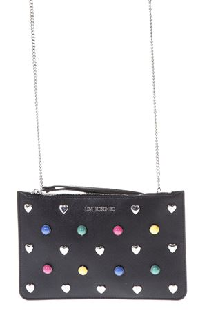 POCHETTE NERA IN ECO PELLE CON BORCHIE MULTICOLOR PE 2018 LOVE MOSCHINO | 2 | JC4304PP05KO0000