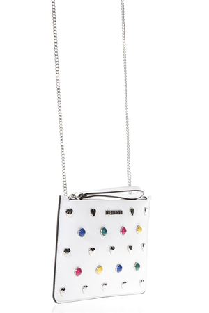 IVORY ECO LEATHER CLUTCH BAG WITH MULTICOLORED STUDS SS 2018 LOVE MOSCHINO | 2 | JC4304PP05KO0100