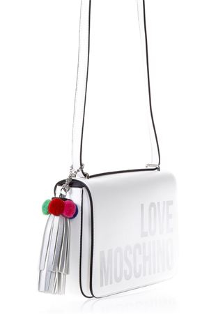 WHITE FAUX LEATHER SHOULDER BAG WITH LOGO SS 2018 LOVE MOSCHINO | 2 | JC4311PP05KQ0100