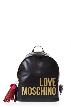 BLACK FAUX LEATHER BACKPACK WITH LOGO SS 2018 LOVE MOSCHINO | 183 | JC4312PP05KQ0000