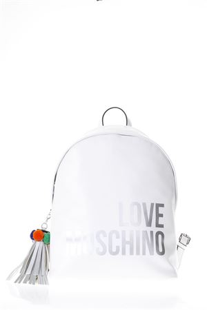 WHITE FAUX LEATHER BACKPACK WITH LOGO SS 2018 LOVE MOSCHINO | 183 | JC4312PP05KQ0100