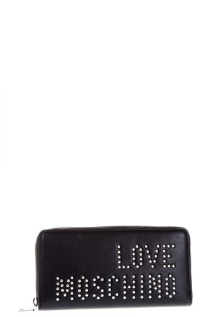 BLACK ECO LEATHER WALLET WITH STUDS LOGO SS 2018 LOVE MOSCHINO | 34 | JC5502PP15LM000A