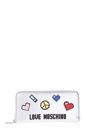 SILVER ECO LEATHER WALLET WITH PATCHES SS 2018 LOVE MOSCHINO | 34 | JC5521PP15LH0902