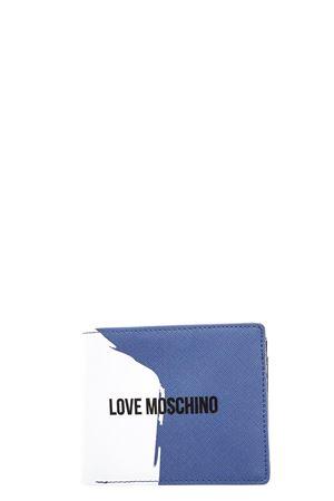 PORTAFOGLIO DA DONNA LOVE MOSCHINO IN SAFFIANO BIANCO E BLU PE 2018 LOVE MOSCHINO | 34 | JD5702PP15F10750